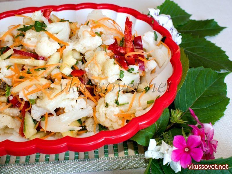 Салат с цветной капусты по-корейски с