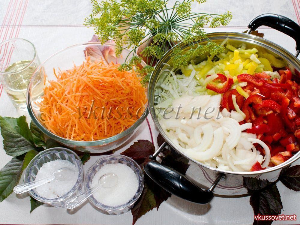 Как сделать салат капуста морковь и перец 747