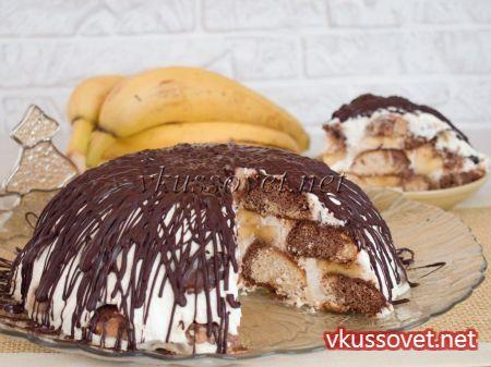 Торт с пряниками и бананами с пошагово